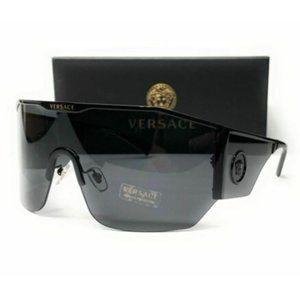 Versace Men's Black and Dark Grey Sunglasses!